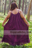 No.162 - Plus Size Curvy Size XS-5X Hippie Boho Clothing Gypsy Purple Maxi Long Strap Dress, Maxi Long Plum Dress