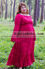 No.163 - Size XS-7X Crimson Red Plus Size Women's Clothing Bohemian Peasant Bell Long Sleeve Tiered Maxi Dress Boho Gypsy Hippie Style