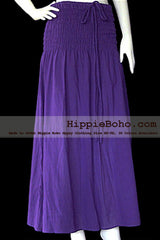 No.019 - Boho Hippie Violet Sundress or Smocked Long Skirt Full Length Plus Size Women's Clothing XS,S,M,L,1X,2X,3X,4X,5X