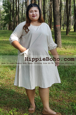 No.200  - Size XS-7X Hippie Boho Bohemian Gypsy 3/4 Sleeve Tunic Plus Size Dress Cotton