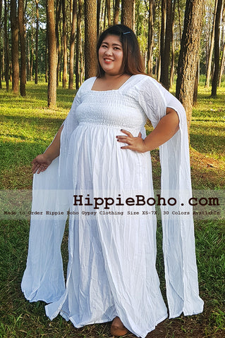 No.206  - Fancy Pagan Celtic Plus Size Curvy Figures Outfits Size XS-7X Curvy Plus Size Gauze Costume Hippie Boho Bohemian Gypsy White Long Sleeve Funky Long Maxi Dress
