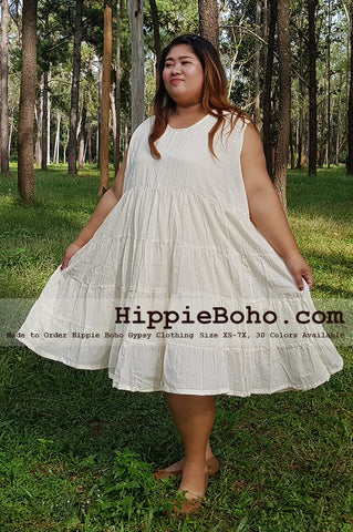 No.033 - Size XS-7X Hippie Boho Clothing Gypsy White Plus Size Sleeveless Peasant Tiered Mini Dress