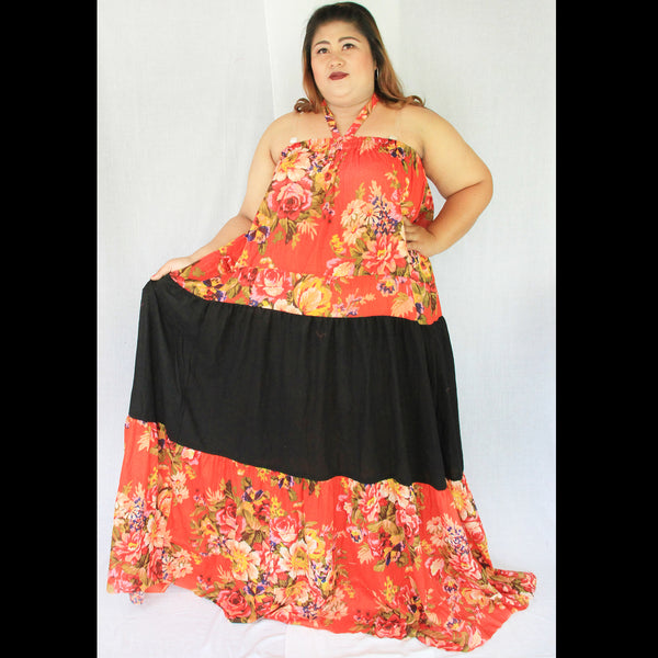 No.381- XS-7X Hippie Boho Bohemian Orange Floral Printed and Black Cotton Maxi Dresses Women's Plus Size Clothing