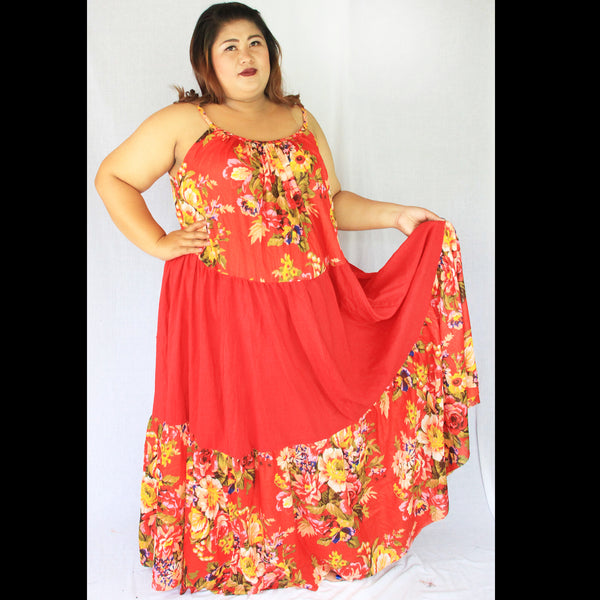 No.383- XS-7X Hippie Boho Bohemian Orange Floral Printed and Orange Cotton Maxi Dresses Women's Plus Size Clothing
