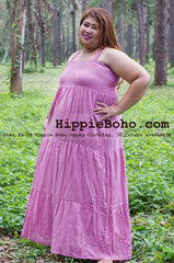 No.439 - Size  XS,S,M,L,1X,2X,3X,4X,5X,6X and 7X  Plus Size Curvy Women's Outfit Hippie Boho Gypsy Pink Maxi Plus Size Strap Long Dress
