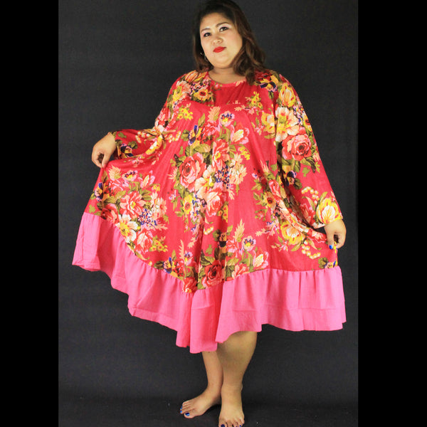 No.469- XS-7X Hippie Boho Bohemian Hot Pink Floral Printed Swing Dresses Women's Plus Size Clothing