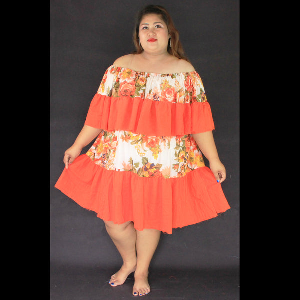 No.474- XS-7X Hippie Boho Bohemian Orange Floral Printed and White Cotton Sundresses Summer Dress Women's Plus Size Clothing