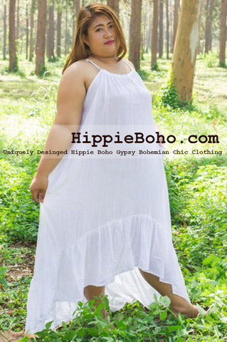 No.479- Curvy Plus Size for Summer XS-7X Hi-Low Hem Hippie Boho Clothing  Gypsy White Plus Size Strap Summer Maxi Dress, Size S,M,L,1X,2X,3X,4X,5X,6X and 7X