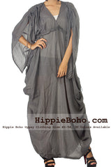 No.501 - Mixed Silk Elegant Sophisticated Gray Curvy Plus Size Boho Hippie Maxi Dress
