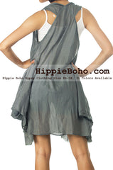 No.506 - Size M,L,XL,XXL Luxurious Gray Mixed Silk Funky A Shape Gathers Balloon Mini Dress Hippie Boho Gypsy Funky Dress