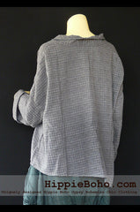 No.507 - One Size Loose Fitting Gray Long Sleeve Multi Way Blouse Asymmetrical Hem Pull Over Cowl Neck Hippie Boho Gypsy Funky Top