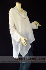 No.507 - One Size Loose Fitting Ivory Long Sleeve Multi Way Blouse Asymmetrical Hem Pull Over Cowl Neck Hippie Boho Gypsy Funky Top