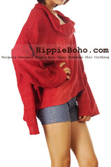 No.507 - One Size Loose Fitting Earth Red Long Sleeve Multi Way Blouse Asymmetrical Hem Pull Over Cowl Neck Hippie Boho Gypsy Funky Top