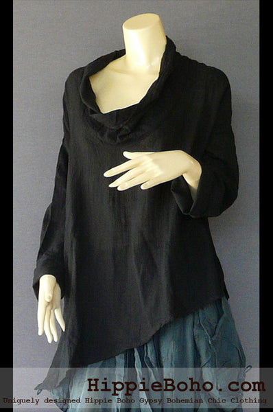 No.507 - One Size Loose Fitting Black Long Sleeve Multi Way Blouse Asymmetrical Hem Pull Over Cowl Neck Hippie Boho Gypsy Funky Top