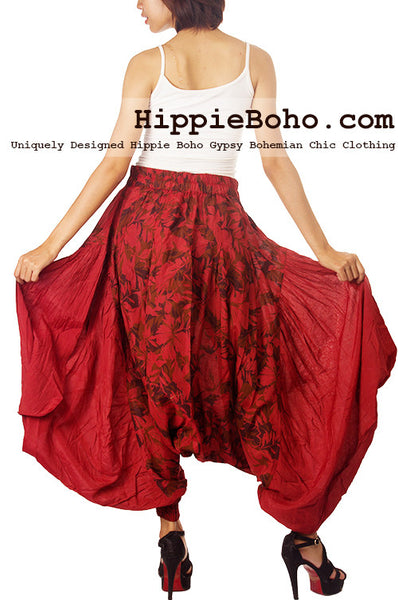 No.512 - Size M,L Handmade Luxurious Earth Red Mixed Silk Harem Pants Funky Pants Capri Pants Boomer Pants Streampunk Funky Long Pants Trousers Hippie Boho Gypsy