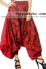 No.512 - Size M,L Luxurious Earth Red Mixed Silk Harem Pants Capri Pants Boomer Pants Streampunk Funky Long Pants Trousers