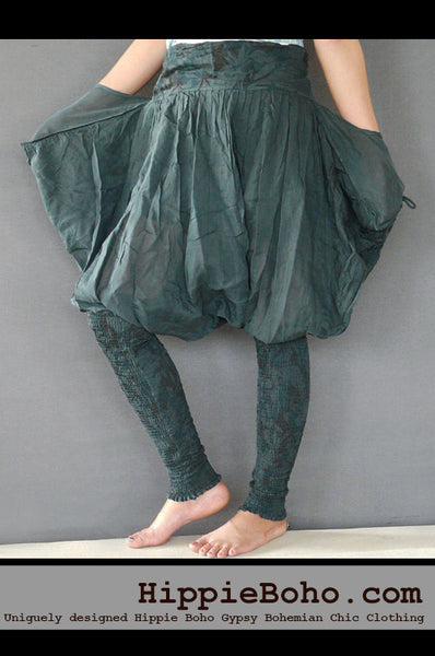 No.514 - Size S,M,L Handmade Luxurious Military Mixed Silk Streampunk Funky Long Pants Trousers Hippie Boho Gypsy