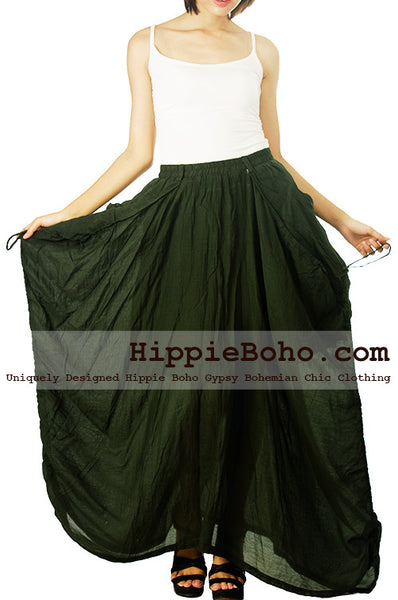 No.515 - Size S,M,L,XL,XXL Adjustable Luxurious Mixed Silk Elegant Drawstring Maxi Long Skirt Hippie Boho Gypsy Funky