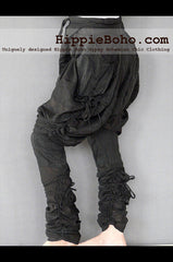 No.518 - Size M,L Handmade Luxurious Black Mixed Silk Streampunk Funky Long Pants Trousers Hippie Boho Gypsy