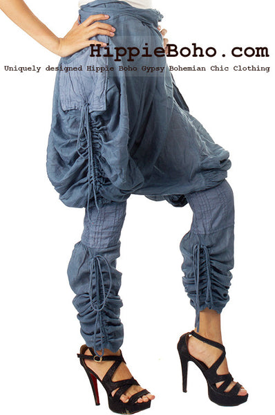 No.518 - Size M,L Handmade Luxurious Mixed Silk Streampunk Funky Long Pants Trousers Hippie Boho Gypsy