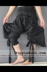 No.520 - Size M,L,XL Handmade Luxurious Black Mixed Silk Swirl Funky Long Harem Pants Trousers Hippie Boho Gypsy
