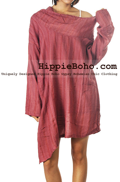 No.523 - One Size Loose Fitting Long Sleeve Multi Way Blouse Asymmetrical Hem Pull Over Cowl Neck Hippie Boho Gypsy Funky Top