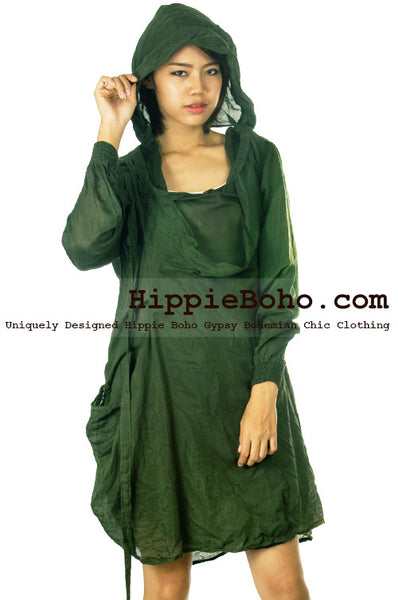 No.525 - Size M,L,XL,XXL Luxurious Mixed Silk Funky Long Sleeve Hippie Boho Hoodie Tunic Dress