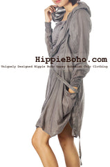 No.525 - Size M,L,XL,XXL Luxurious Gray Mixed Silk Funky Long Sleeve Hippie Boho Hoodie Tunic Dress