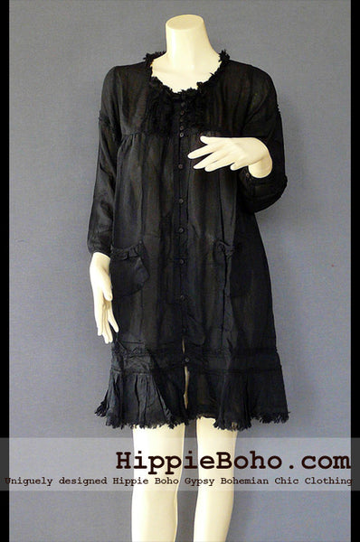 No.527 - Size M,L Luxurious Black Mixed Silk Funky 3/4 Sleeve Hippie Boho Tunic Dress