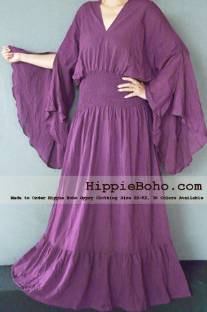 No.302  - Size XS-5X Plum Purple Curvy Plus Size Gauze Costume Hippie Boho Bohemian Gypsy White Long Sleeve Funky Long Maxi Dress