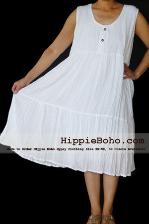 No.075 - Size XS-5X Hippie Boho Clothing Gypsy White Plus Size Sleeveless Tiered Mini Dress