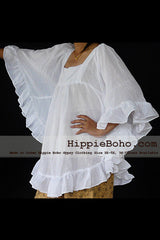 No.428  - Size XS-7X Hippie Boho Bohemian Gypsy White Batwing Sleeve Plus Size Kimono Caftan Sleeve Blouse Top Lightweight Cotton