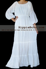 No.077 - Size XS-7X Hippie Boho Bohemian Gypsy White Long Sleeve Plus Size Peasant Maxi Long Dress