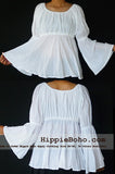 No.092  - Size XS-5X White Hippie Boho Bohemian Gypsy Casual Tops  Blouse Wide Sleeve Plus Size Clothing