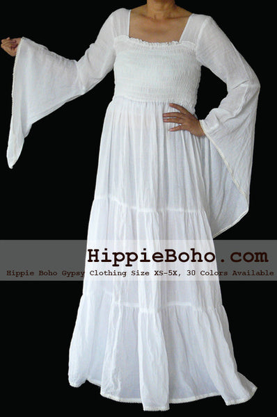 No.099 - Size XS-7X Hippie Boho Bohemian Gypsy White Long Sleeve Plus Size Peasant Maxi Long Dress