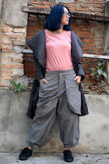 No.137 Bohemian Outfit Pants/Funky Linen/cotton Pants/ 137 long pants/capri pants/elegant pants/linen/black/brown/blue grey/purple/hippie/funky/M/L/XL/