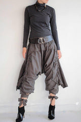 No.1128 Bohemian Outfit Pants/Funky harem pants...Mix silk Light Gray (3 sizes M,L,XL)