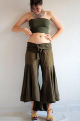 No.148 Bohemian Outfit Pants/Hippie pants...Dark green mix silk M,L
