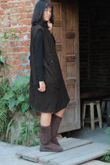 Sleeve less dress swirl..1406A.dark brown Three layer cotton (one size fit most)