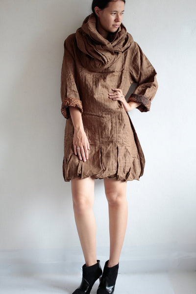 Winter short coat Dress 424  Linen 2 layers (fits S-L)