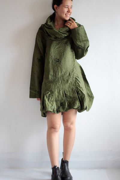 winter mini coat dress... Linen 2 layers (fits S-L)
