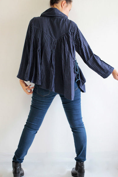 Striped Blouse  cotton/wool Blouse.1132. one size fit S-M