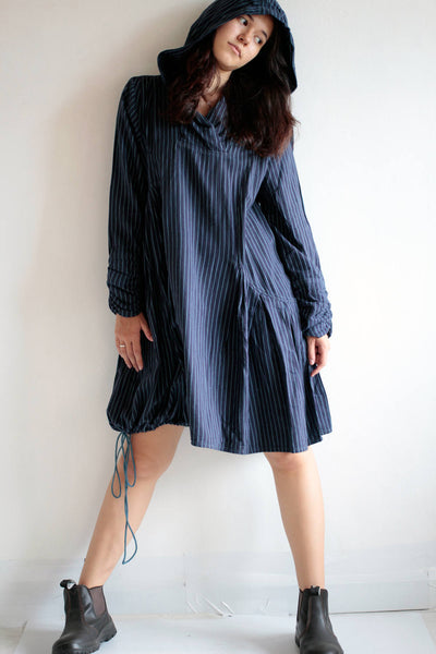 Striped Hoodie Mini dress...long sleeve hoodie tunic asymmetric dress Size M