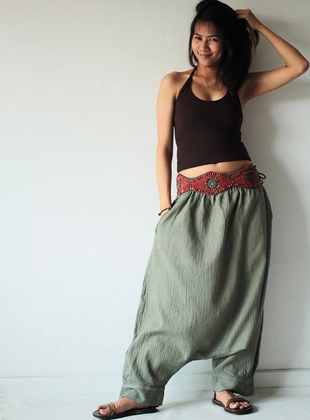 Pants.. Hippie long pants..1410 M,L,XL/harem/elastic/funky/cotton/brown/black/ivory/indigo/red/hippie pant/capri/mustard