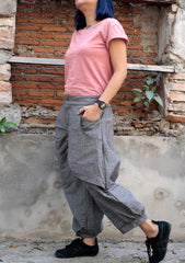 Pants/Funky  Linen/cotton Pants/ 137 long pants/capri pants/elegant pants/linen/black/brown/blue grey/purple/hippie/funky/M/L/XL/
