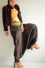 Pants/Harem funky pants (266) harem pant/hippie pant/silk mix/cotton/funky pant/ big leg pant/M/L/XL