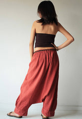 Pants/long pants..1410/ M,L,XL/harem/elastic/funky/cotton/brown/black/ivory/indigo/red/hippie pant/capri/mustard