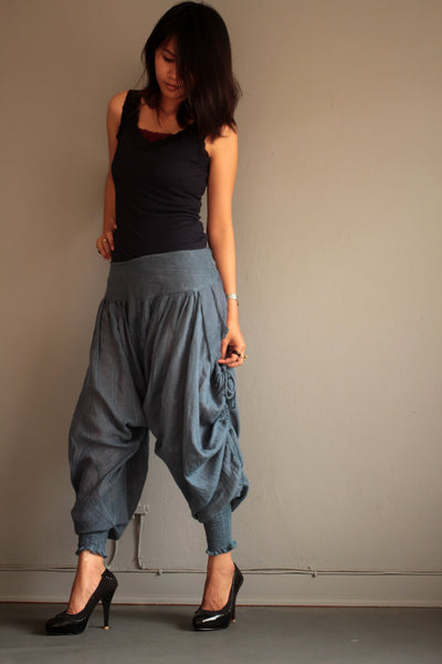 Pants (428)long pants.Linen/cotton /colour no.4/ One size fits XL...Shirring/smock waist
