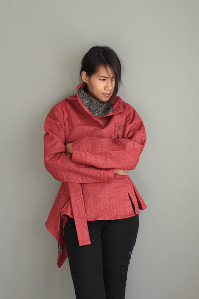 Winter short Jacket with front  buttons (415) linen/ 2 layers M size.