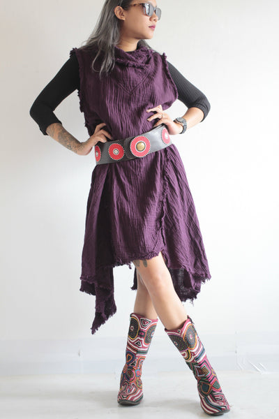 Vest/ mini dress two layer cotton  140 (S-M)  ,(L-XL) Brown,Purple